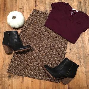Ann Taylor LOFT brown wool tweed pencil skirt